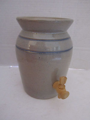 """ceramic stoneware jug with wood spout. pottery. 7"""" tall, 5"""" wide. Blue grey"""