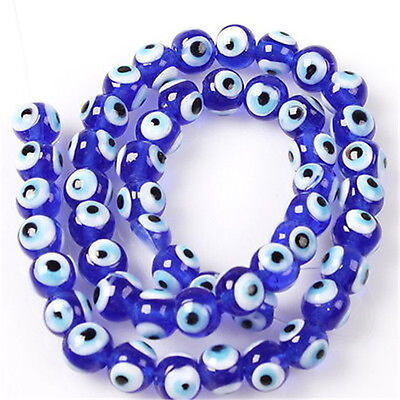 1Strand Royal Blue Evil Eye Loose Round Lampwork Glass Spacer Beads Findings D