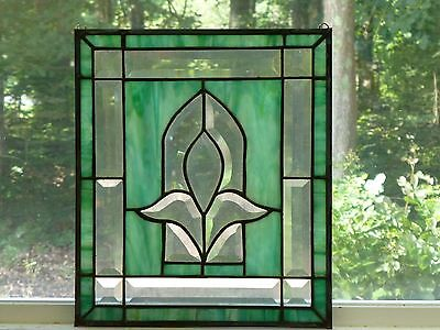 GORGEOUS Clear Beveled Floral Stained Glass w/Carribbean Blue!