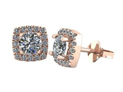 Genuine 0.80Ct Round Cut Diamond Rounded Square Halo Stud Earrings 14k Gold