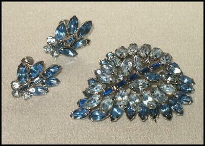 Exquisite Vintage Set Stamped Kyes Brooch & Twist Back Earring Blue Crystals
