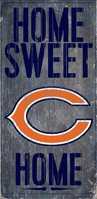 """CHICAGO BEARS HOME SWEET HOME WOOD SIGN and ROPE 12"""" X 6""""  NFL MAN CAVE!"""