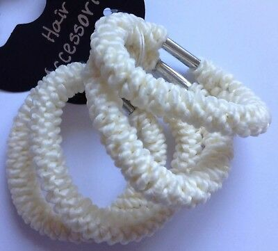 A 4 Pack Of Cream/Ivory Rope Style Ponytail Band/Hair Bobbles