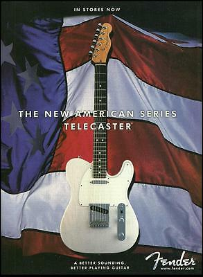 Fender New American Series White Telecaster guitar ad 8 x 11 advertisement