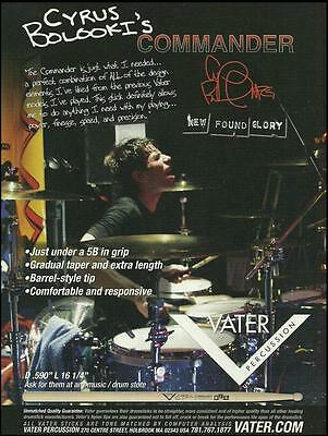 New Found Glory Cyrus Bolooki Vater Drum Sticks ad 8 x 11 advertisement print