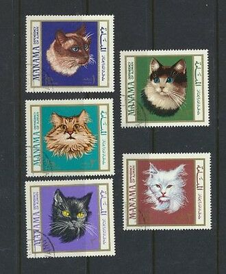 CATS Set of 5 colorful Lightly Cancelled Manama Postage Stamps