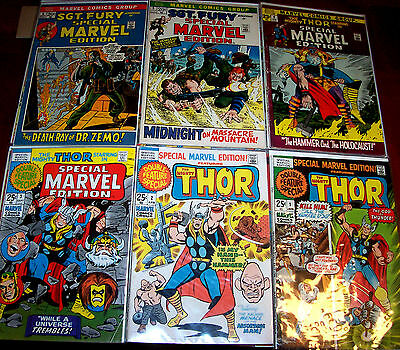 SPECIAL MARVEL EDITION #1-14 THOR! SGT. FURY! Jack Kirby Art! 1971 Bronze-Age