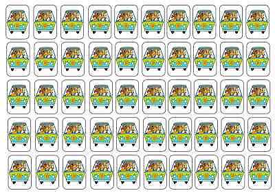 """50 Scooby Doo Gang Envelope Seals / Labels / Stickers, 1"""" by 1.5"""""""