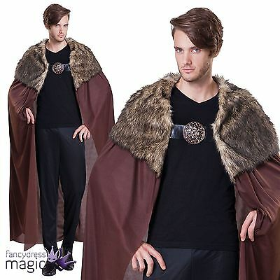 Long Cape Cloak John Snow Game of Thrones Fancy Dress Costume with Fur Collar