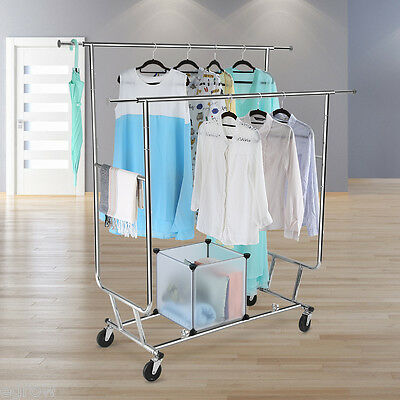 Collapsible Heavy Duty Movable Garment Rack DIY Coat Hanger Clothes Wardrobe