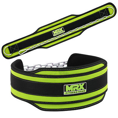 MRX Power Weight Lifting Gym Exercise Dip Belt with Metal Chain Green