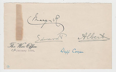 Royalty. EDWARD VIII, GEORGE VI, QUEEN MARY, signatures, January 1936.