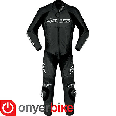 Alpinestars Carver 1 One Piece Motorcycle Motorbike Race Leather Suit Black SALE