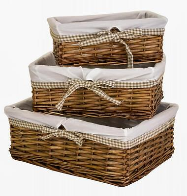 e2e Set of 3 Antique Brown Wicker Shallow Storage Basket & Taupe Gingham Liner