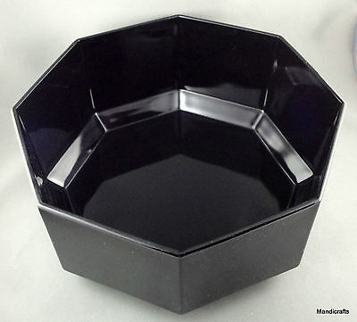 Arcoroc Serving Salad Bowl (s) 9in Octime Black Glass Octagon Retired France