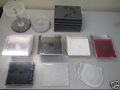 Empty DVD CD Spindle Standard Clear Color Jewel Cases HUGE Lot
