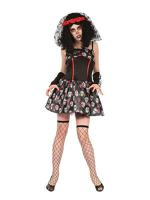 Day of The Dead Senorita Costume Darling Fancy Dress Sugar Skull Halloween  New 8b6831eb11f0