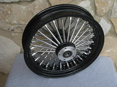 """16"""" Black  Fat  Spoke Rear Wheel For Harley Fxst Softail Touring Baggers 2000-07"""