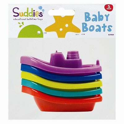5pc Assorted Colours Baby Bath Time Toy Boats Infant Toddler Floats Safe Play