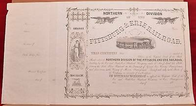 1800s Northern Division Pittsburgh Erie Railroad Company Stock Certificate Blank