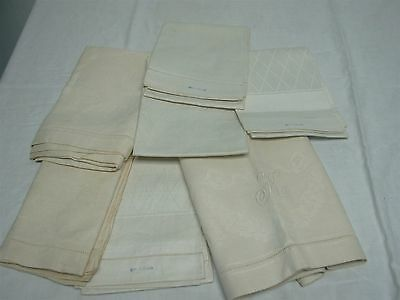 7 Antique Irish Linen Damask Bath Towels ~ Lovely Lot
