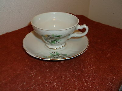 Vintage Green & White Floral Design  Fine China Japanese Cup & Saucer