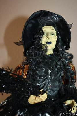 Halloween Tabletop Sitting Witch Doll Black Orange Skulls Realistic Face Hands