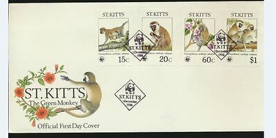 The Green Monkey Set of 4 Stamps on St Kitts Official first day cover Unaddress