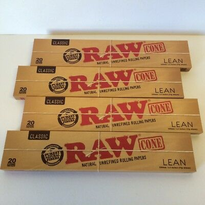 BUY FOUR BOXES of 20 RAW Rolling Papers New LEAN Pre-Rolled Cones 80 cones total