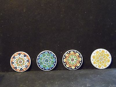 Set 4 Vintage Nassos Greece Hand Painted Ceramic Coasters Paradissi Rodos-Hellas
