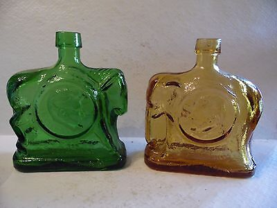 1968 Wheaton Glass Presidential Campaign Bottles Elephant Nixon Donkey Hoover