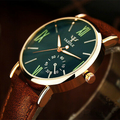 Men's Fashion Date Leather Stainless Steel Sport Quartz Noctilucent Wrist Watch