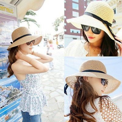 Hot Women's Wide Brim Summer Beach Sun Hat Straw floppy Elegant Bohemia cap KB