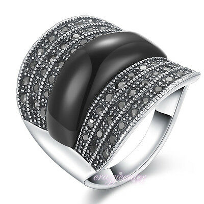 Vintage Black Agate Marcasite Crystal Cocktail Wide Band Rings Silver Tone Gift