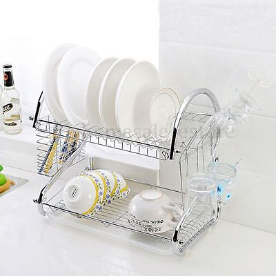2 Tier Stainless Steel Plate Dish Rack Drainer Drying Rack Space Saver
