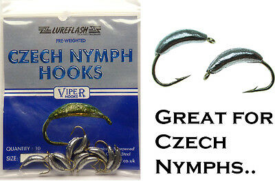 Size 8 Pre-Weighted CZECH NYMPH Hooks for Fly Tying - Pack of 10 - (CNH9394)