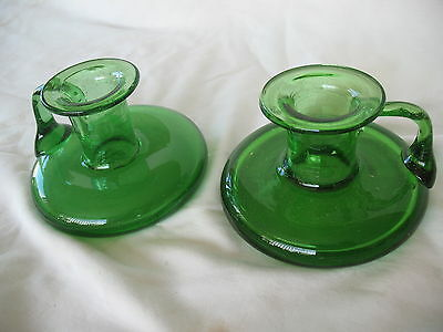 Pair of old vintage hand blown green glass candlesticks with unpolished pontil