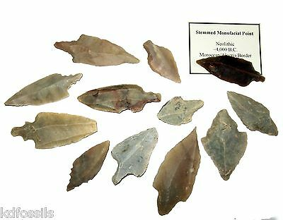 Neolithic monofacial stemmed arrow heads projectile points stone tools Africa