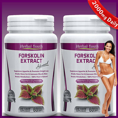 2 x BOTTLES 120 Capsules 2000mg Daily FORSKOLIN PILLS Coleus Forskohlii EXTRACT