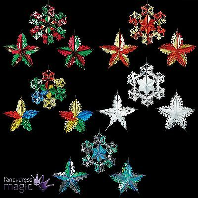 *Hanging Foil Shape Assorted Star Snowflake Ceiling Christmas Xmas Decoration*