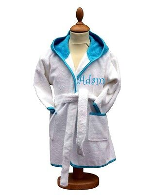 Personalised Baby/Child's Terry Dressing Gown, Bathrobe, Blue Trim, Curly Font