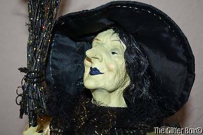 Halloween Shelf Sitter Witch Black Gold Realistic Face Hands Holding Broom Doll