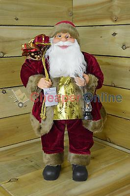 60cm Standing Indoor Burgundy Santa Claus / Father Christmas Plush Decoration