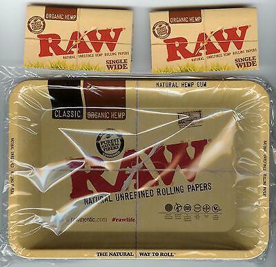 RAW COMBO KIT - Metal TRAY + TWO PACKS Organic Hemp Single Wide Rolling Papers
