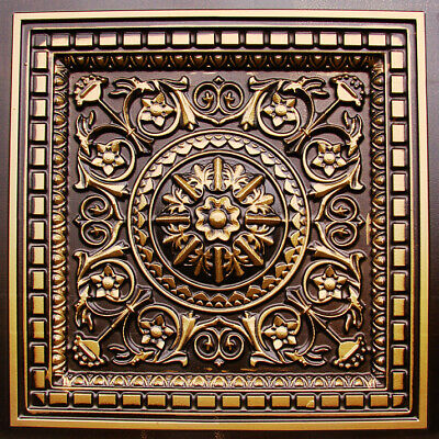 Tin Look Drop In Decorative Ceiling Tile - #215 Antique Copper (coffered look)