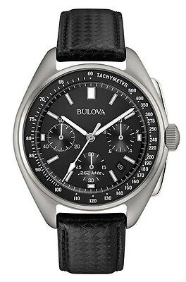 Bulova 96B251 Men's Special Edition Moon Chronograph Black Leather Strap Watch