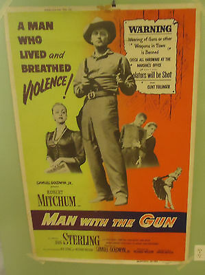 "1955 Man With The Gun Original Movie Poster 40"" x 60"" Robert Mitchum"