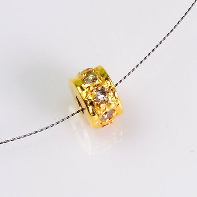 3.2mm 18k Solid Yellow Gold Diamond Eternity Rondelle Finding Bead