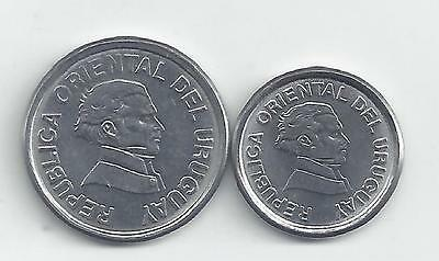 2 DIFFERENT COINS from URUGUAY - 10 & 20 CENTESIMOS (BOTH DATING 1994)