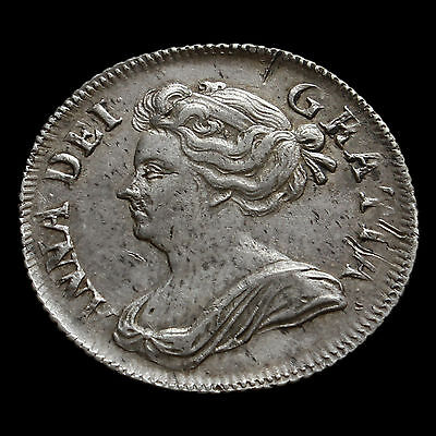 1707 Queen Anne Early Milled Silver Shilling, Plumes, Scarce, A/EF